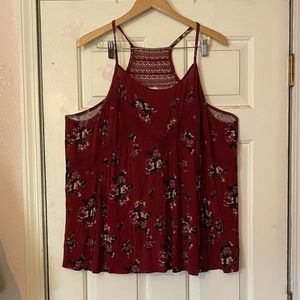 Maroon tank top with flowers!